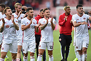 Billy Sharp (10) of Sheffield United (centre) applauds the travelling fans with his team mates as they celebrates at full time after a 1-1 draw during the Premier League match between Bournemouth and Sheffield United at the Vitality Stadium, Bournemouth, England on 10 August 2019.