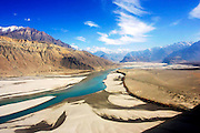 River runs through valleys of Karokoram Mountains, Skardu Valley, North Pakistan