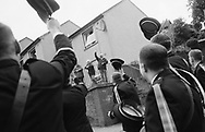 "The ""Fifes and Drums"" band marching around the town after the 'Bussing of the Colours' ceremony, during Hawick Common Riding Week.. Scotland..PIC©JEREMY SUTTON-HIBBERT 2000.."