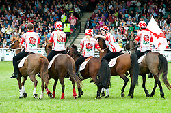 © Licensed to London News Pictures. 21/07/2015. Llanelwedd, UK. England team is the winner after teams of riders take part in theRoyal Welsh Mounted Games – International World Team Championships. The Royal Welsh Show is hailed as the largest & most prestigious event of it's kind in Europe. In excess of 200,000 visitors are expected this week over the four day show period - 2014 saw 237,694 visitors, 1,033 tradestands & a record 7,959 livestock exhibitors. The first ever show was at Aberystwyth in 1904 and attracted 442 livestock entries. Photo credit: Graham M. Lawrence/LNP