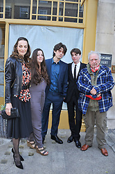 Left to right, CATHERINE BAILEY, PALOMA BAILEY, FENTON BAILEY, SASCHA BAILEY and DAVID BAILEY at a private view of Human Relations featuring the photographs of Fenton Bailey and Mairi-Luise Tabbakh, curated by Sascha Bailey held at Imitate Modern, 27a Devonshire Street, London, W1 on 1st May 2013.