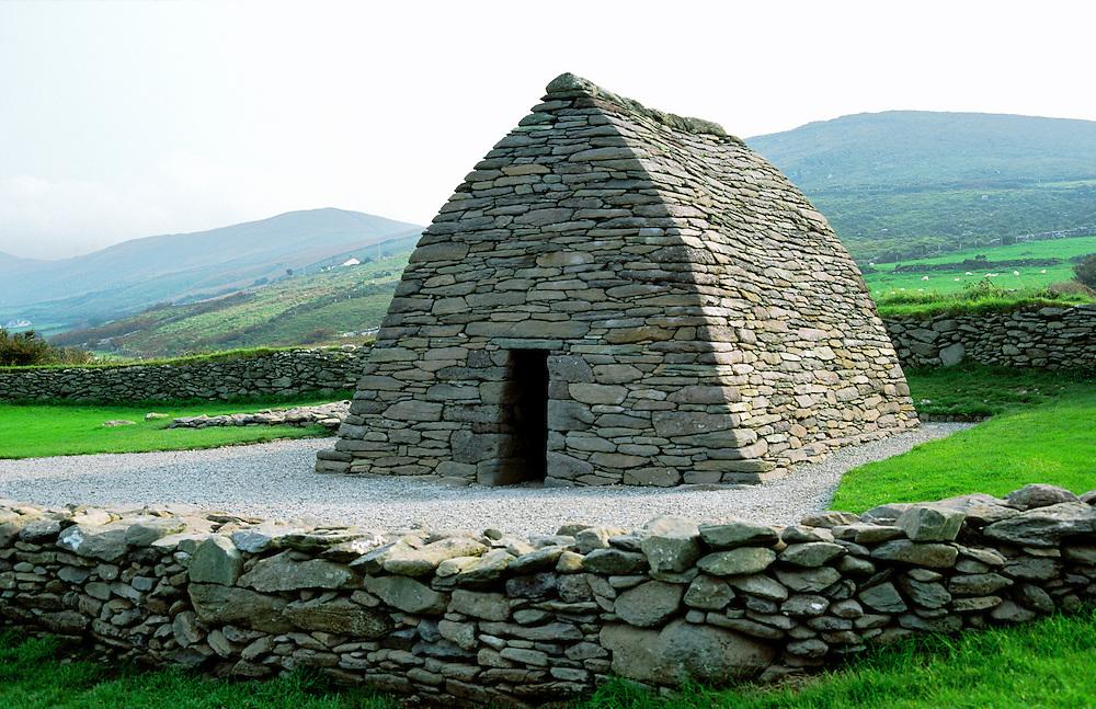 Exterior of Gallarus. Early Irish Celtic Christian oratory. Dingle Peninsula, County Kerry, Ireland. Dry stone corbelling.