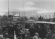 Crowds in front of the Palace of Tauride (seat of the Provisional Government after the February Revolution), in Petrograd, later St Petersburg, Russia, during the Russian Revolution, on 14th March 1917, photograph by P Wolkof of Vetchernee Vremia, published in L'Illustration no.3868, 21st April 1917. Picture by Manuel Cohen