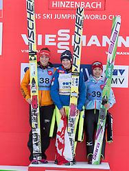 31.01.2015, Energie AG Skisprung Arena, Hinzenbach, AUT, FIS Ski Sprung, FIS Ski Jumping World Cup Ladies, Hinzenbach, Wettkampf im Bild das Siegerpodest v.l. Carina Vogt (GER), Daniela Iraschko-Stolz (AUT), Sara Takanashi (JPN) // during FIS Ski Jumping World Cup Ladies at the Energie AG Skisprung Arena, Hinzenbach, Austria on 2015/01/31. EXPA Pictures © 2015, PhotoCredit: EXPA/ Reinhard Eisenbauer