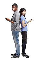 two people back to back on a white background