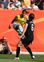 10.07.2011, Glückgas Stadion, Dresden,  GER, FIFA Women Worldcup 2011, Viertelfinale , Brasil (BRA) vs USA (USA)  im Bild   .Fabiana (BRA) gegen Amy Le Peilbet (USA)   .//  during the FIFA Women Worldcup 2011, Quarterfinal, Germany vs Japan  on 2011/07/10, Arena im Allerpark , Wolfsburg, Germany.  .EXPA Pictures © 2011, PhotoCredit: EXPA/ nph/  Hessland       ****** out of GER / CRO  / BEL ******