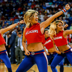 Mar 31, 2017; New Orleans, LA, USA; New Orleans Pelicans dance team performs during the second half of a game against the Sacramento Kings at the Smoothie King Center. The Pelicans defeated the Kings 117-89. Mandatory Credit: Derick E. Hingle-USA TODAY Sports