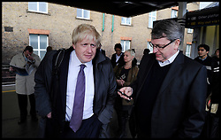 London Mayor Boris Johnson at London Bridge station on his way to a rally in Orpington during the Mayoral Campaign, London, UK,  April 17, 2012. Photo By Andrew Parsons / i-Images.