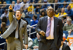 Nov 20, 2015; Morgantown, WV, USA; Stetson Hatters head coach Corey Williams yells from the bench during the first half against the West Virginia Mountaineers at WVU Coliseum. Mandatory Credit: Ben Queen-USA TODAY Sports