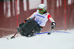 Caleb BROUSSEAU competing in the Alpine Skiing Super Combined Slalom at the 2014 Sochi Winter Paralympic Games, Russia