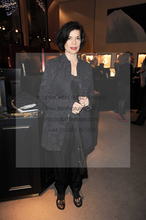 BIANCA JAGGER at a party to celebrate the publication of Nathalie von Bismarck's book 'Invisible' held at Asprey, 167 New Bond Street, London on 9th December 2010.