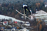 Poland, Wisla Malinka - 2017 November 19: Maciej Kot from Poland soars through the air while Men&rsquo;s Individual HS134 competition during FIS Ski Jumping World Cup Wisla 2017/2018 - Day 3 at jumping hill of Adam Malysz on November 19, 2017 in Wisla Malinka, Poland.<br /> <br /> Mandatory credit:<br /> Photo by &copy; Adam Nurkiewicz<br /> <br /> Adam Nurkiewicz declares that he has no rights to the image of people at the photographs of his authorship.<br /> <br /> Picture also available in RAW (NEF) or TIFF format on special request.<br /> <br /> Any editorial, commercial or promotional use requires written permission from the author of image.