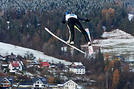 Poland, Wisla Malinka - 2017 November 19: Maciej Kot from Poland soars through the air while Men's Individual HS134 competition during FIS Ski Jumping World Cup Wisla 2017/2018 - Day 3 at jumping hill of Adam Malysz on November 19, 2017 in Wisla Malinka, Poland.<br /> <br /> Mandatory credit:<br /> Photo by © Adam Nurkiewicz<br /> <br /> Adam Nurkiewicz declares that he has no rights to the image of people at the photographs of his authorship.<br /> <br /> Picture also available in RAW (NEF) or TIFF format on special request.<br /> <br /> Any editorial, commercial or promotional use requires written permission from the author of image.