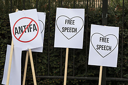 "© Licensed to London News Pictures. 11/03/2018. London, UK. Anti Antifa and Love Free Speech placards at the demonstration . Alt right group Generation Identity and other far-right groups hold a demonstration at Speakers' Corner in Hyde Park , opposed by antifascists . Generation Identity supporters Martin Sellner and Brittany Pettibone were due to speak at the demo but were arrested and detained by police when they arrived in the UK , also forcing them to cancel an appearance at a UKIP "" Young Independence "" youth event , which in turn was reportedly cancelled amid security concerns . Photo credit: Joel Goodman/LNP"