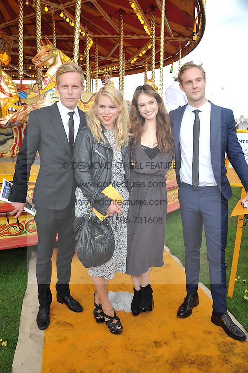 Left to right, LAURENCE FOX, BILLIE PIPER, LILY JAMES and JACK FOX at the 2012 Veuve Clicquot Gold Cup Final at Cowdray Park, Midhurst, West Sussex on 15th July 2012.