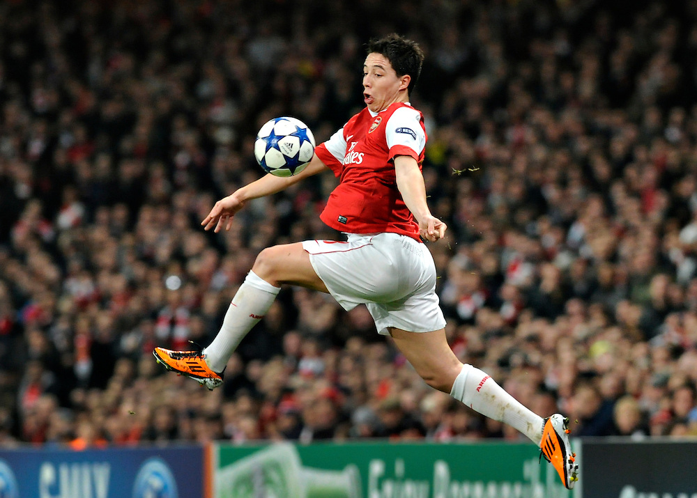 Arsenal midfielder Samir Nasri, controls the ball during a Champions League, round of 16 first leg soccer match between Arsenal and Barcelona at the Emirates stadium in London, UK, Wednesday, Feb. 16, 2011.