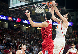 Furkan Korkmaz of Turkey vs Pierre Oriola of Spain during basketball match between National Teams of Spain and Turkey at Day 11 in Round of 16 of the FIBA EuroBasket 2017 at Sinan Erdem Dome in Istanbul, Turkey on September 10, 2017. Photo by Vid Ponikvar / Sportida