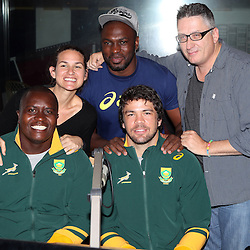 DURBAN, SOUTH AFRICA, 5 October, 2016 - Rugby Championship, Trevor Nyakane with Warren Whiteley and the DJ'S from East Coast Radio during the Springboks in the East Coast Radio stations as part of a ticket give away competition and general build-up to the Test Durban, South Africa. (Photo by Steve Haag)