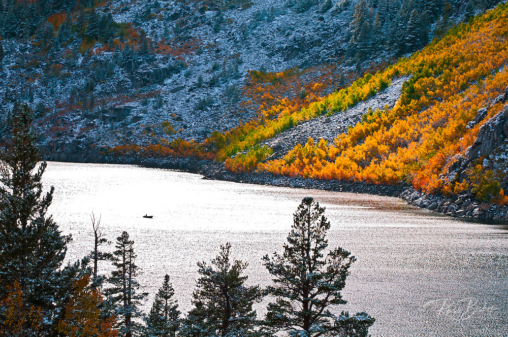 Fall color and fresh snow at South Lake, Inyo National Forest, Sierra Nevada Mountains, California USA