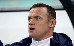 Wayne Rooney of England sings the national anthem ahead of the fixture with Slovenia in which he starts on the bench - Mandatory by-line: Robbie Stephenson/JMP - 11/10/2016 - FOOTBALL - RSC Stozice - Ljubljana, England - Slovenia v England - World Cup European Qualifier