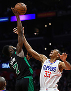 Boston Celtics guard Jaylen Brown #7 shoots over LA Clippers forward Wesley Johnson #33 in the second half. The Los Angeles Clippers were defeated by the Boston Celtics 113-102 in a regular season NBA matchup in Los Angeles, CA 1/025/2018 (Photo by John McCoy, Los Angeles Daily News/SCNG)