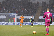 The heavens open as the match is drawing to a close, Vaclav Hladky of St Mirren stands over the ball during the Ladbrokes Scottish Premiership match between St Mirren and Livingston at the Simple Digital Arena, Paisley, Scotland on 2nd March 2019.