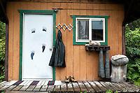Front Porch of an Alaskan Cabin at Silver Salmon Creek Lodge, Lake Clark National Park, Alaska