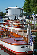 Henley on Thames, England, United Kingdom, 5th July 2019, Henley Royal Regatta, Umpires launches moored outside the Bridge Bar,   [© Peter SPURRIER/Intersport Image]<br /> <br /> 17:02:11 1919 - 2019, Royal Henley Peace Regatta Centenary,