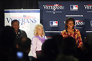 l to r: Charlie Hayes, First Lady Michelle Obama and Dr. Jill Biden at The James J. Peters VA Medical Center Visit with First Lady Michelle Obama and Dr. Jill Biden, wife of Vice President Joe Biden, along with baseball officials visit the James J. Peters VA Medical Center in the Bronx as a show of support for veterans through the Welcome Back Veterans.