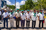 10 SEPTEMBER 2003 - CANCUN, QUINTANA ROO, MEXICO: A march against the WTO during the WTO ministerial meetings in Cancun. Tens of thousands of protesters, mostly farmers, came to Cancun for the fifth ministerial of the World Trade Organization (WTO). They were protesting against developed nations pushing to get access to agricultural markets in developing nations. The talks ultimately collapsed after no progress with no agreements reached between the participants.           PHOTO BY JACK KURTZ