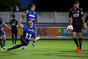 AFC Wimbledon midfielder Mitchell (Mitch) Pinnock (11) with a shot on goal during the Pre-Season Friendly match between AFC Wimbledon and Crystal Palace at the Cherry Red Records Stadium, Kingston, England on 30 July 2019.