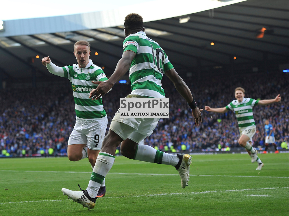 Moussa Dembele   celebrates with Leigh Griffiths after scoring in the match between Rangers v Celtic, Betfred Cup semi-final, Hampden Park, Sunday 23 October 2016, (c) Angie Isac | SportPix.org.uk