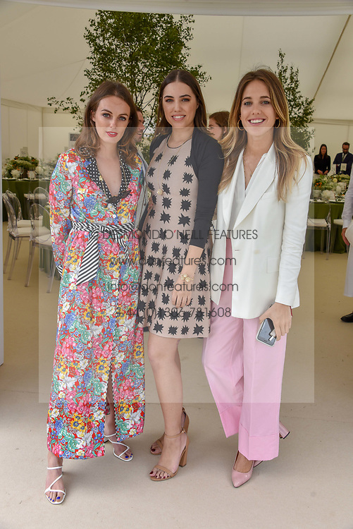 Left to right, Lady Violet Manners, Amber Le Bon and Daisy Knatchbull at the Cartier Queen's Cup Polo 2019 held at Guards Polo Club, Windsor, Berkshire. UK 16 June 2019. <br /> <br /> Photo by Dominic O'Neill/Desmond O'Neill Features Ltd.  +44(0)7092 235465  www.donfeatures.com