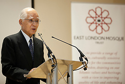 © Licensed to London News Pictures. 20/01/2012. LONDON, UK. Hisashi Owada, president of the International Courts of Justice (ICJ), speaking at the London Muslim Centre in East London today (20/01/12). Photo credit: Matt Cetti-Roberts/LNP