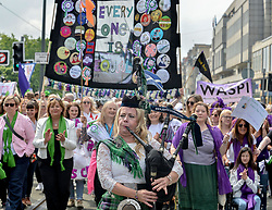 Women and girls held marches and rallies across the country, including in Edinburgh, to mark 100 years since the Representation of the People Act, which gave women the right to vote and hold public office.<br /> <br /> © Dave Johnston / EEm