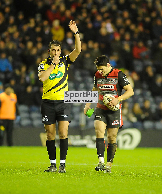 Referee Gary Conway awards a penalty to Sam Hidalgo-Clyne during the Edinburgh Rugby v Treviso Guinness PRO12 game, ......(c) COLIN LUNN | SportPix.org.uk