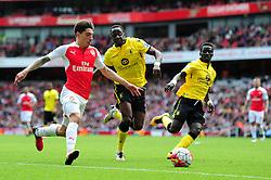 Hector Bellerin of Arsenal runs down the wing  - Mandatory by-line: Dougie Allward/JMP - 15/05/2016 - FOOTBALL - Emirates Stadium - London, England - Arsenal v Aston Villa - Barclays Premier League