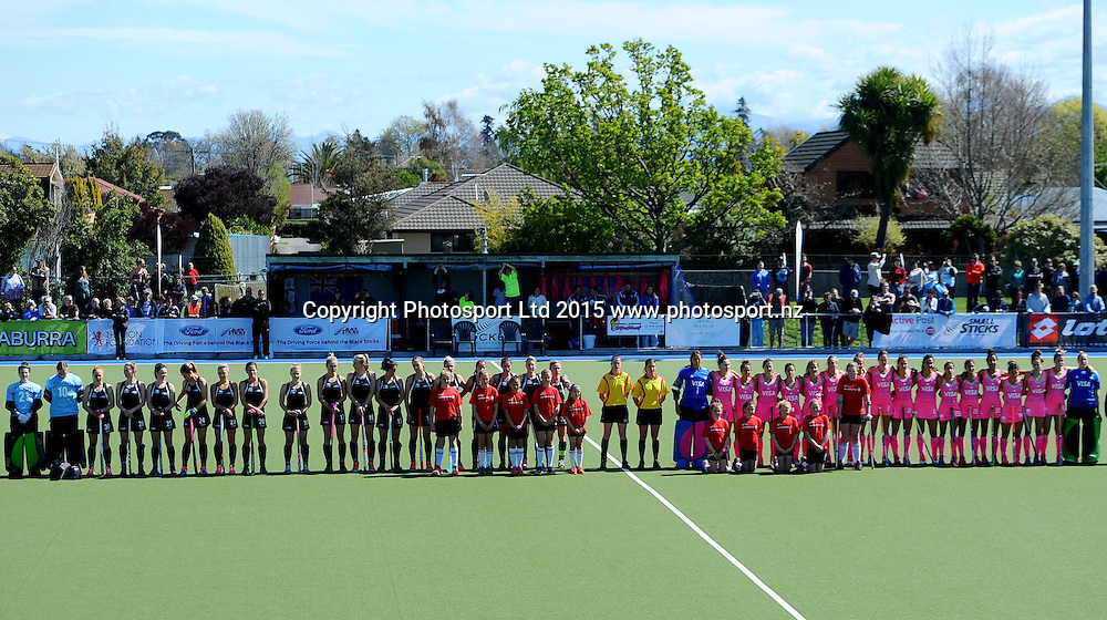 Black Sticks Women and Argentina teams line up for the National Anthems  during their 2015 South Island Tour game between the New Zealand Black Sticks Women v Argentina. College Park, Blenheim, New Zealand. Saturday 3 October 2015. Copyright Photo: Chris Symes / www.photosport.nz