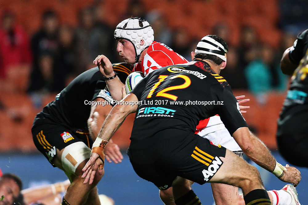 Sunwolves first five Hayden Cripps in action during the Super Rugby rugby match - Chiefs v Sunwolves played at FMG Stadium Waikato, Hamilton, New Zealand on Saturday 29 April 2017.  Copyright photo: Bruce Lim / www.photosport.nz
