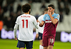 LONDON, ENGLAND - Wednesday, January 29, 2020: West Ham United's Pablo Fornals shakes hands with Liverpool's Mohamed Salah after the FA Premier League match between West Ham United FC and Liverpool FC at the London Stadium. (Pic by David Rawcliffe/Propaganda)