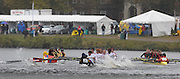 Cambridge, USA, Youth men' eights,    crews clash under the John Weeks footbridge during the  2009 Head of the Charles  Sunday  18/10/2009  [Mandatory Credit Peter Spurrier Intersport Images],.