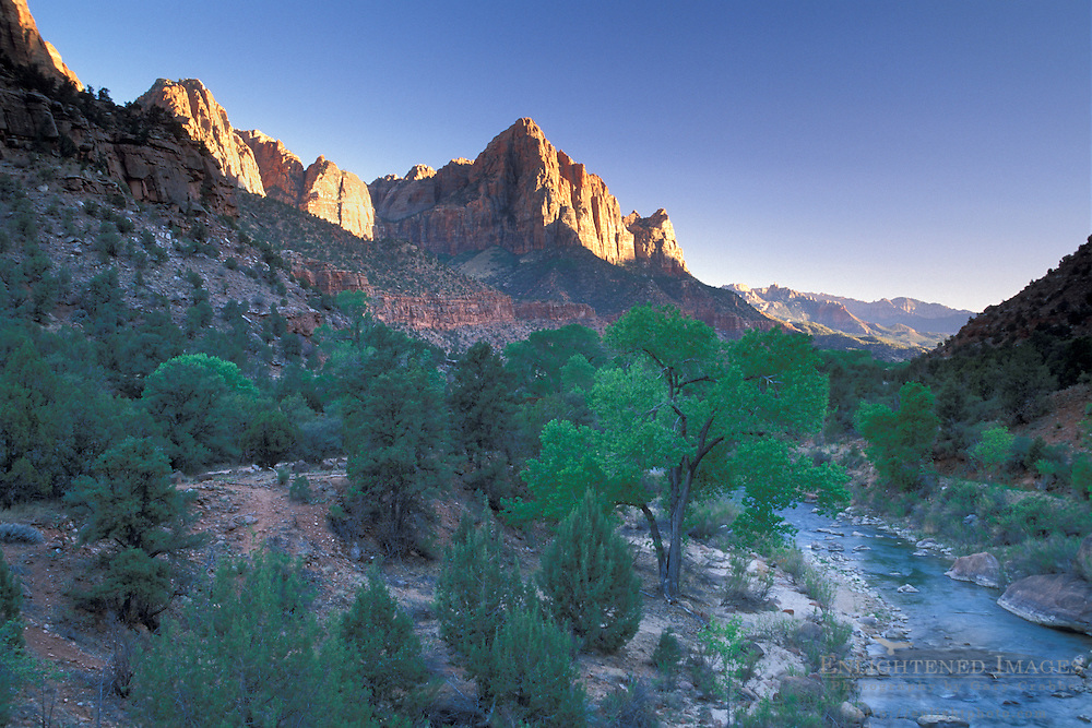 Sunset on the Watchman over the Virgin River, entrance to Zion Canyon, Zion National Park, Uath