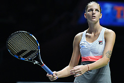 SINGAPORE, Oct. 26, 2017  Karolina Pliskova of the Czech Republic reacts during the match against Jelena Ostapenko of Latvia at the WTA Finals tennis tournament in Singapore, on Oct. 26, 2017. (Credit Image: © Then Chih Wey/Xinhua via ZUMA Wire)