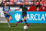 Kayleigh Green (Brighton) in pursuit of Millie Bright (Chelsea) during the FA Women's Super League match between Brighton and Hove Albion Women and Chelsea at The People's Pension Stadium, Crawley, England on 15 September 2019.