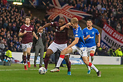 Filip Helander of Rangers FC & Uche Ikpeazu of Hearts during the Betfred Scottish League Cup semi-final match between Rangers and Heart of Midlothian at Hampden Park, Glasgow, United Kingdom on 3 November 2019.