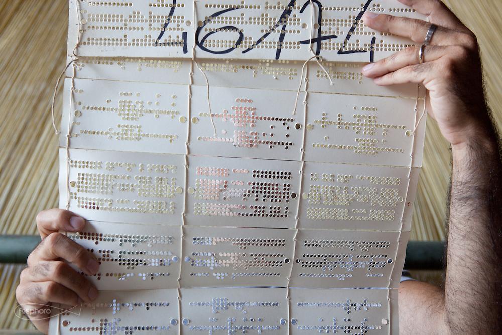 Soveria Mannelli (CZ) - Lanificio Leo. Emilio Leo (39), Sala di tessitura Jacquard. Emilio S. Leo con i primi cartoni del disegno Punto Pecora (Studiocharlie 2004), un raffinato e complesso ragionamento sul logo del Lanificio Leo.