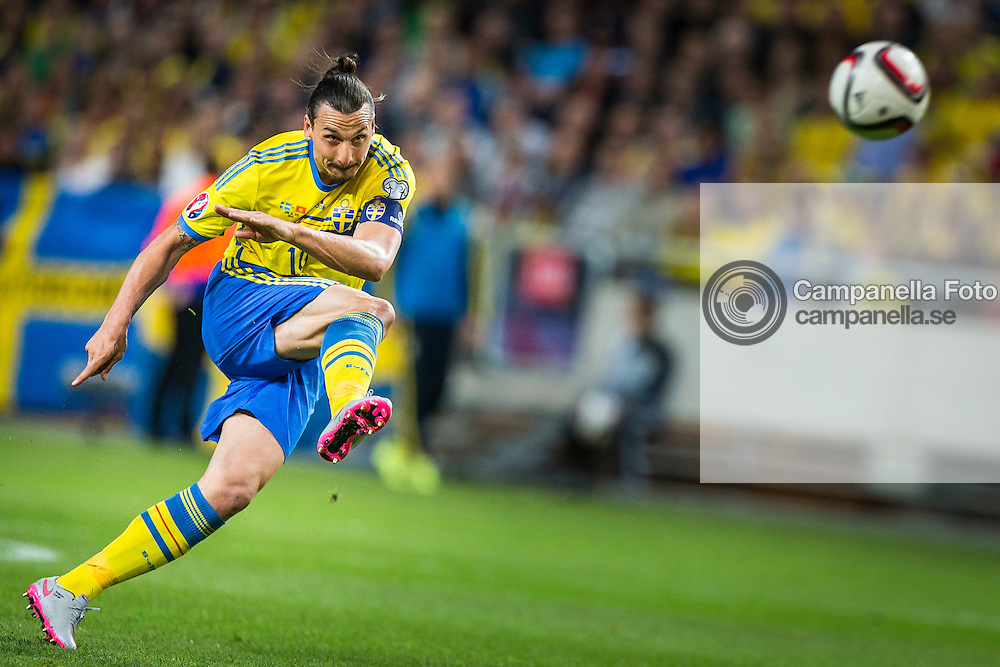 STOCKHOLM, SWEDEN - June 14th 2015:<br /> <br /> Sweden 10 Zlatan Ibrahimovic shot on goal during a UEFA Euro Qualification between Sweden and Montenegro at Friends Arena in Stockholm, Sweden on June 14th 2015. (Photo: Michael Campanella)