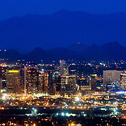 Skyline for downtown Phoenix, Arizona shot at dusk. .