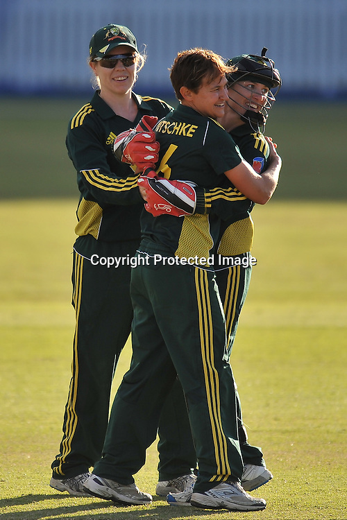 Jodie Fields hugs Shelly Nitschke while celebrating the 9th wicket for Australia ~ Game 7 (ODI) of the Rose Bowl Trophy Cricket played between Australia and New Zealand at Alan Border Field in Brisbane (Australia) ~ Thursday 16th June 2011 ~ Photo : Steven Hight (AURA Images) / Photosport