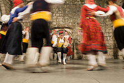 Europe, Croatia, Dalmatia, Dubrovnik.  Folk dancers in traditional costumes.